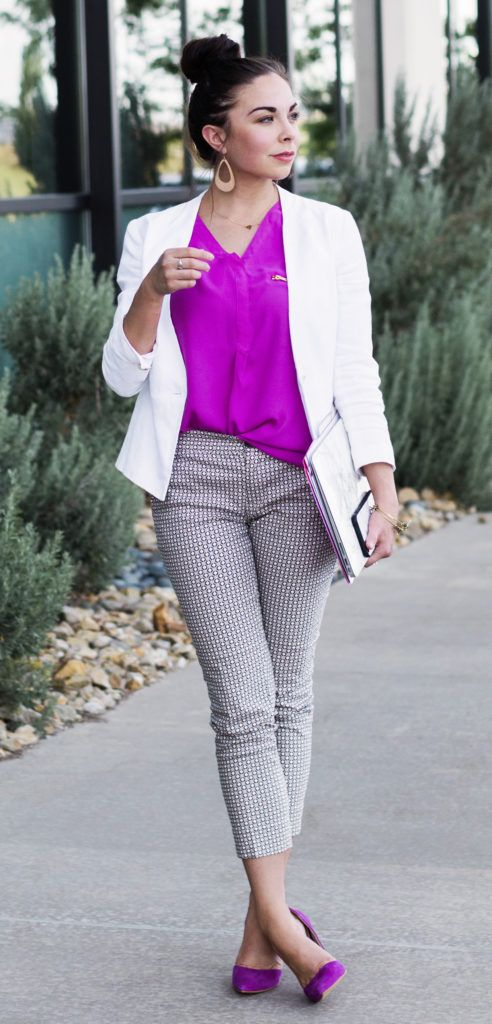 printed cropped pants, a hot pink top, a creamy jacket and hot pink flats for a bold spring look