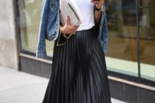 16 silver shoes, a black pleated midi skirt, a white tee and a cropped denim jacket for a casual yet refined look