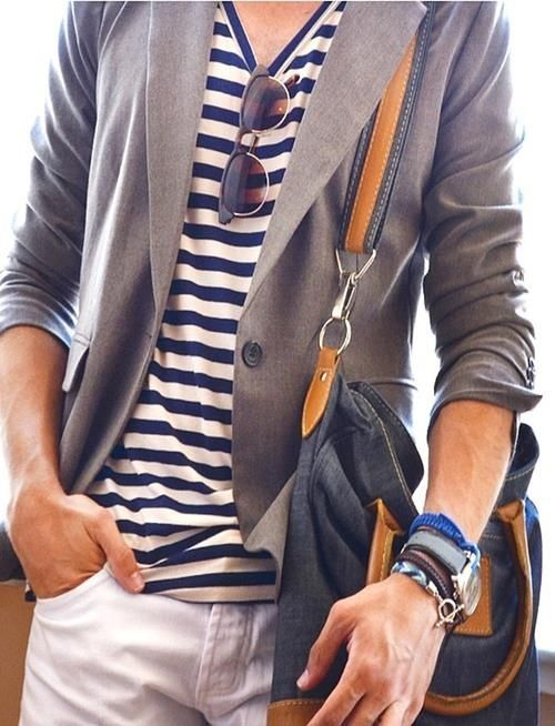 white jeans, a striped t-shirt, a grey jacket and a comfy bag for a casual business look
