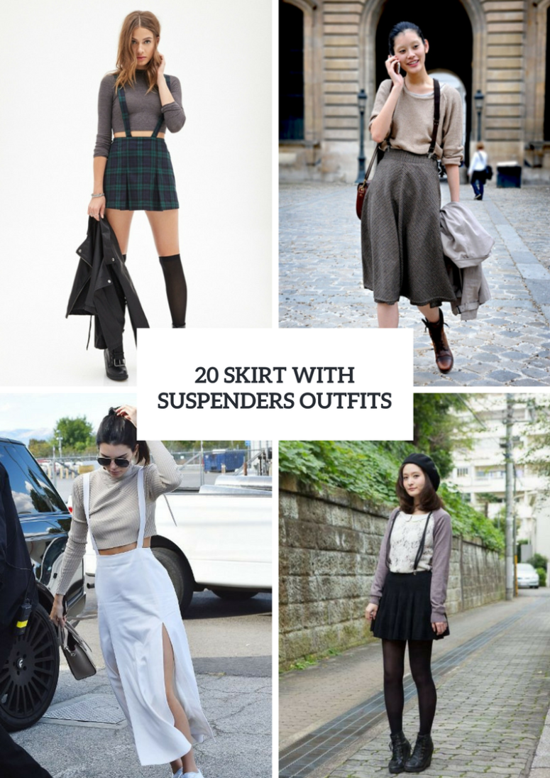 20 Ideas To Wear Skirts With Suspenders