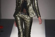 With black top and brocade blazer