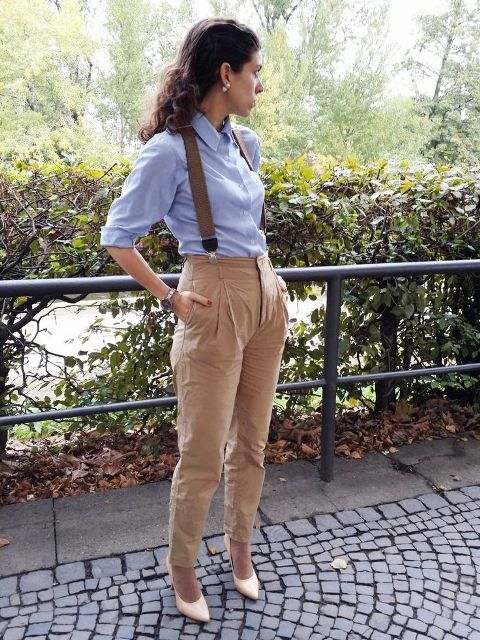 With classic button down shirt and beige pumps