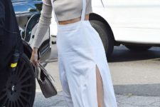 With crop sweatshirt and white sneakers