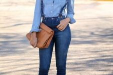 With denim shirt, brown clutch and yellow pumps