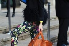 With fur blazer, leopard heels and brown tote
