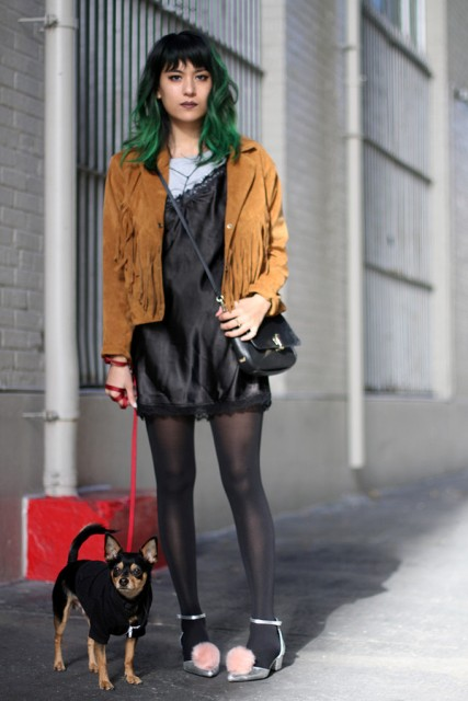 With gray shirt, silk dress, black tights, pom pom shoes and crossbody bag
