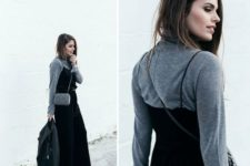 With gray turtleneck, crossbody bag and leather jacket