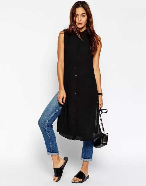 With jeans, sandals and mini bag