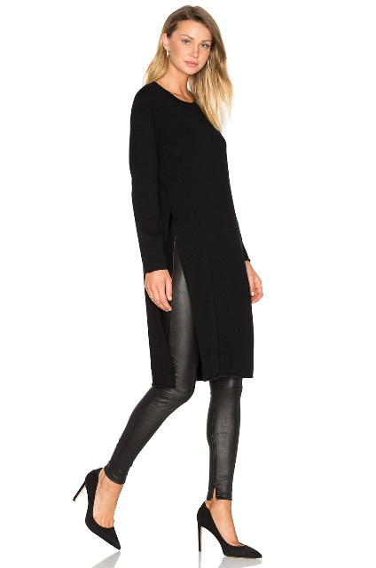 With leather pants and black pumps
