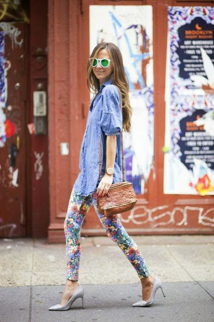 With light blue blouse, white heels and brown bag