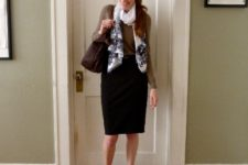 With light brown shirt, pencil skirt, black shoes and dark brown bag