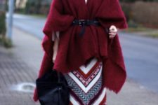 an awesome look with a cape coat
