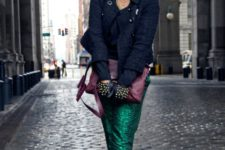 With navy blue jacket, gloves, heels and purple clutch