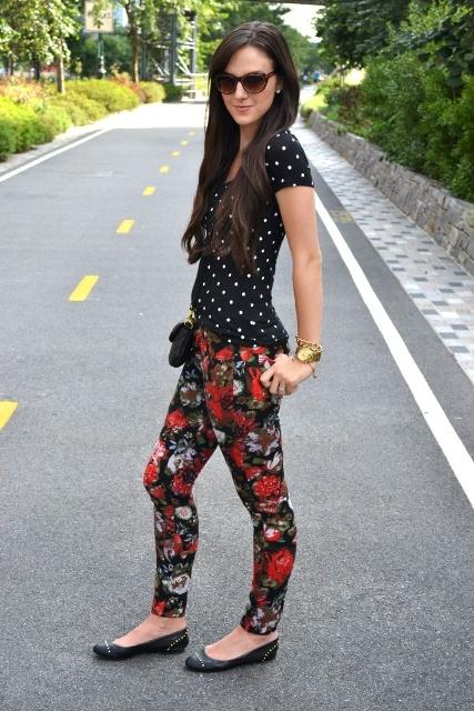 With polka dot shirt, black flats and min bag