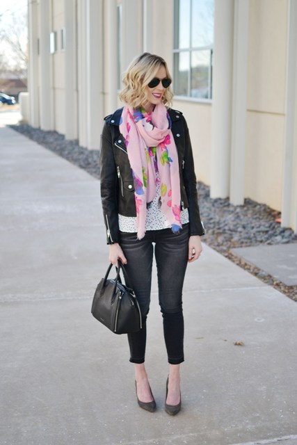 With polka dot shirt, crop jeans, pumps, leather jacket and leather bag