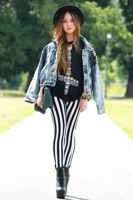 With printed shirt, denim jacket, platform boots and hat