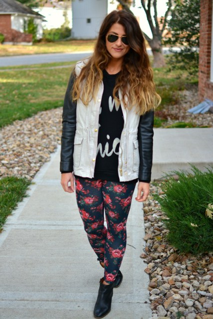 With printed shirt, jacket and ankle boots