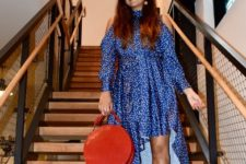 With red bag and orange pumps