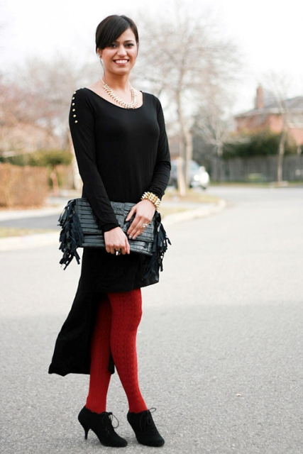 With red tights, fringe clutch and ankle boots