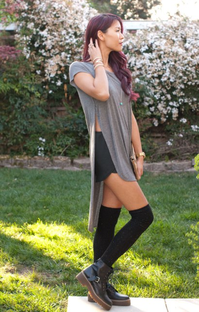 With shorts, knee socks and ankle boots