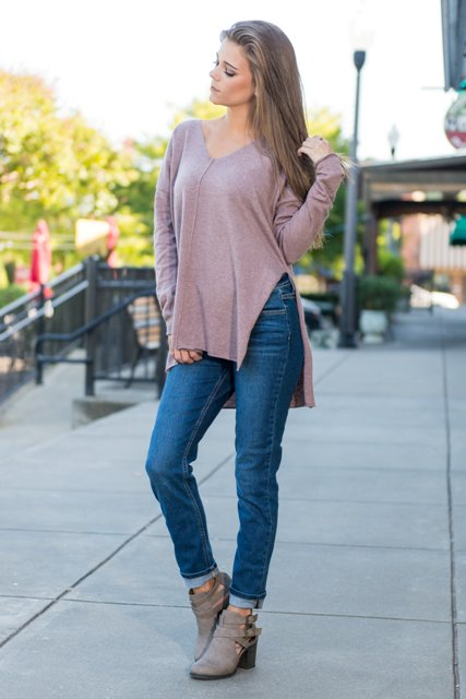 With straight jeans and ankle boots