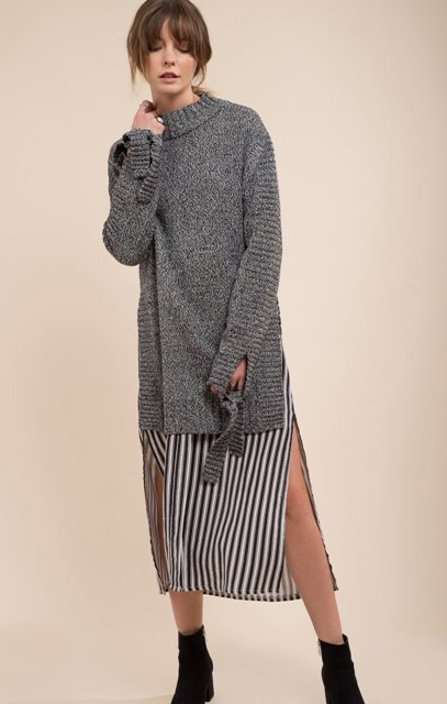 With striped midi skirt and black ankle boots