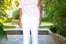 With striped shirt and sandals
