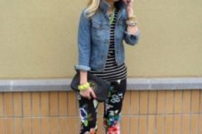 With striped shirt, denim jacket, black pumps and clutch