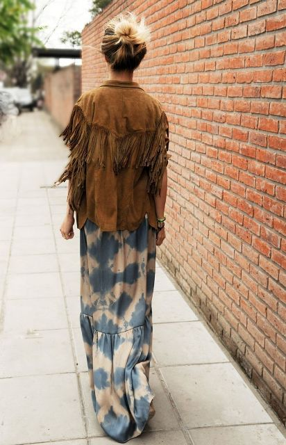 With watercolor maxi skirt