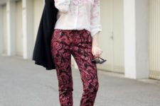 With watercolored blouse, white shoes and black blazer