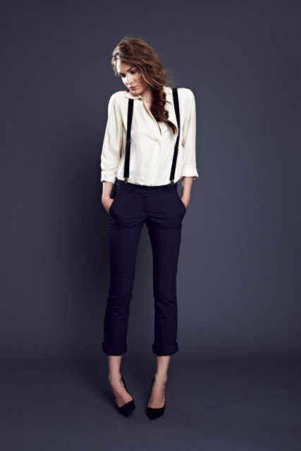 With white blouse and black pumps