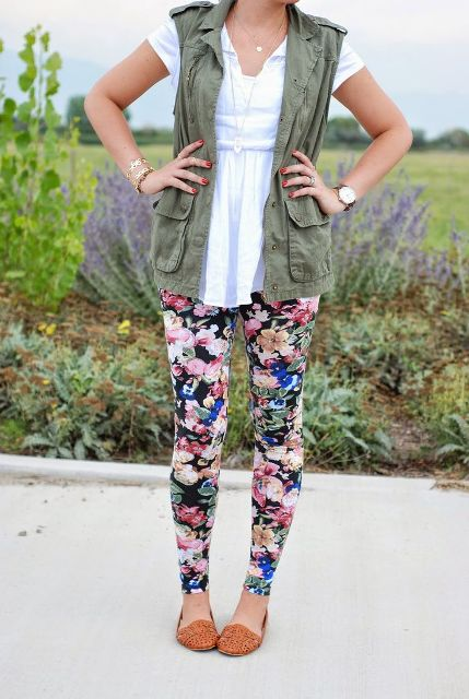 20 Wonderful Outfits With Floral Leggings