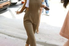 With white crop t-shirt and camel jumpsuit