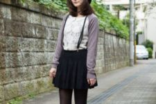 With white lace blouse, black tights, black boots, cardigan and black beret