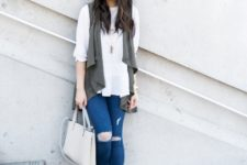 With white loose blouse, distressed jeans, heels and white bag