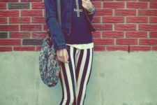 With white shirt, black shirt, denim jacket, printed bag and flats