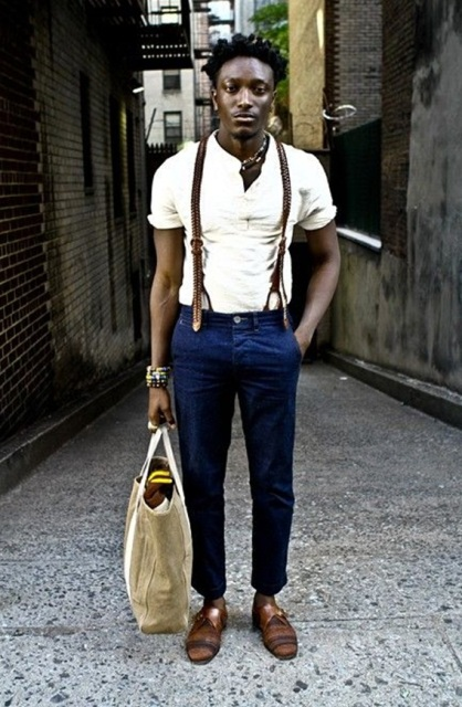With white shirt, blue pants, tote and brown shoes