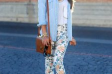 With white shirt, denim shirt, platform sandals and brown bag