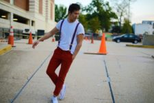 With white t-shirt, red pants and white sneakers