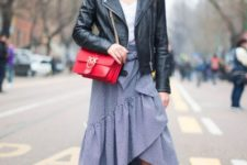spring outfit with a black leather jacket