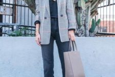 02 a black lace top, black cropped jeans, a grey plaid blazer, silver shoes and a neutral bag