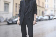 02 a black pantsuit, a black tee and white sneakers to wear right now