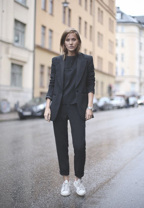 A Black Pantsuit Tee And White Sneakers To Wear Right Now