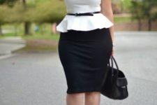 02 a black pencil skirt, a white sleeveless blouse, black heels and a black belt
