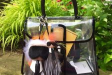 02 a comfy transparent bag with hangers and black framing for a bold look