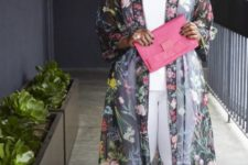02 white pants and a top, bokd green shoes, a pink clutch and a sheer dark floral kimono