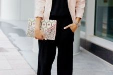 03 a black jumpsuit, a blush blazer, blush shoes and a printed clutch for a chic contrasting look