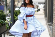 03 a gorgeous airy off the shoulder blue and white stripe dress and nude heels