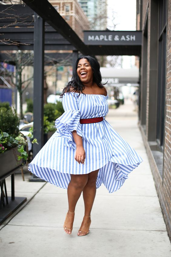 a gorgeous airy off the shoulder blue and white stripe dress and nude heels