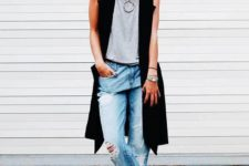 03 ripped boyfriend jeans, a grey tee, blakc heels and a long vest plus a statement necklace